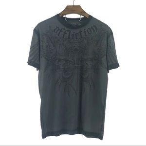 AFFLICTION | Black Raw Edge Graphic T-Shirt